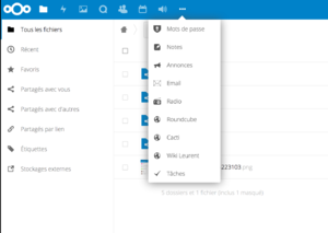 Nextcloud menu